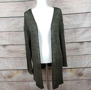 H&M Green Long Cardigan Sweater Womens Medium
